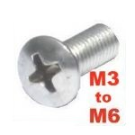 Philips Raised A2 Stainless Countersunk Oval Screws (Multi-Listing M3 to M6)